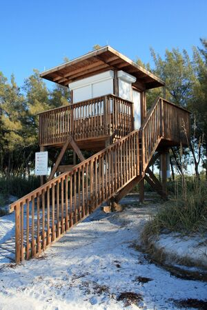 Lifeguard station shown on the beach in beautiful south Florida. Stock Photo