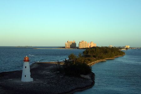 Lighthouse on Paradise Island in Nassau, Bahamas.  The Atlantis Resort can be seen in the distance.