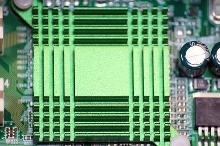 Macro View of Computer Circuits.  Motherboard or microchip closeup.