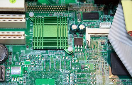 Macro View of Computer Circuits.  Motherboard or microchip closeup.