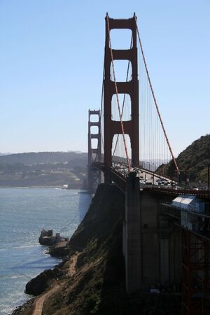 Alternate view of the Golden Gate Bridge in San Francisco California. Stock Photo
