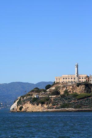 Closeup of Alcatraz Island in San Francisco California Stock Photo