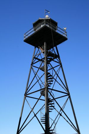 View of the guard tower on Alcatraz Island.  Located in San Francisco, California. Stock Photo