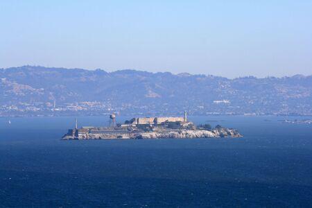 View of Alcatraz Island from the Golden Gate Bridge.  Located in San Francisco California. Stock Photo - 5883283