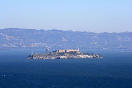 View of Alcatraz Island from the Golden Gate Bridge.  Located in San Francisco California. Stock Photo