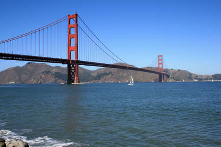 The Golden Gate Bridge on a beautiful day.  Located in San Francisco California.