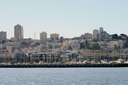 Boats docked on San Francisco Bay.