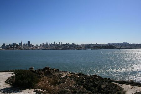 View of San Francisco from Alcatraz Island.  Shown on a beautiful and sunny day.