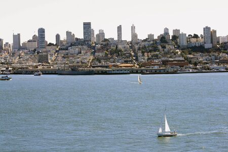 San Francisco skyline on a beautiful day.  Sailboats and skyscrapers all seen here. Stock Photo