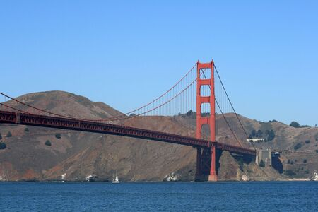 The Golden Gate Bridge viewed from the banks of the San Francisco Bay. Stock Photo
