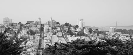 Black and White of downtown San Francisco, Golden Gate Bridge, and Lombard Street.
