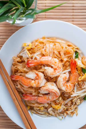 Thai stir-fried noodles with shrimps. One of the most famous Thai food.
