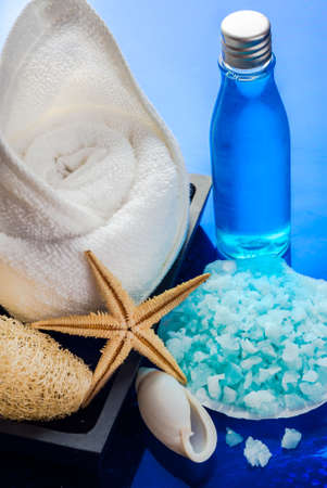 A spa kit; sea sensation consists of shower gel, mineral salt, loofah and a towel