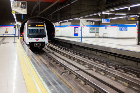 Madrid metro platform in Chamartin Station Editorial