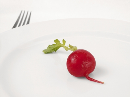 abstention: One small radish with green leaves lying on a white plate  Fork protruding beyond the edge of the plate