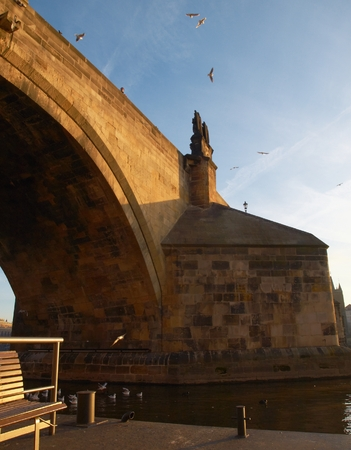 Charles Bridge from the ceiling in the early morning. photo