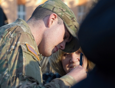 resolve: PRAGUE - MARCH 31, 2015: Public meeting with US soldiers from the convoy Dragoon ride under the operation Atlantic resolve