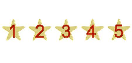숫자가 표시된 5 개의 별 스톡 콘텐츠