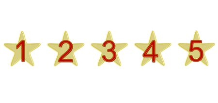 five stars: Five stars, which are marked with numbers Stock Photo