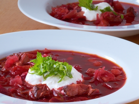eastern european: Eastern European borscht soup, which is popular especially in Russia and Ukraine.
