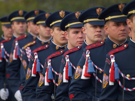 PRAGUE - OCTOBER 28, 2016: Commemorative ceremony of the 98th anniversary the creation of the independent Czechoslovak state at the Czech National Memorial Vitkov