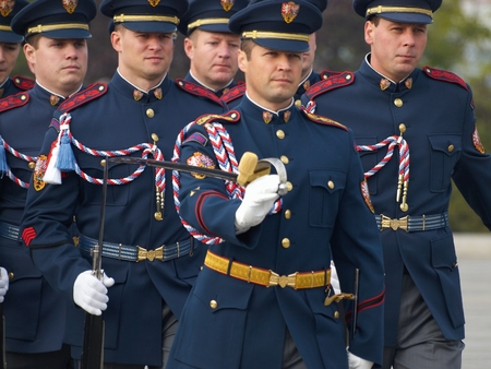czechoslovak: PRAGUE - OCTOBER 28, 2016: Commemorative ceremony of the 98th anniversary the creation of the independent Czechoslovak state at the Czech National Memorial Vitkov