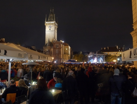 PRAGUE - OCTOBER 28, 2016:  Spontaneous assembly thousands of people on Staromestske (Old Town) Square. Czech independent day is accompanied by tensions due to alleged extortion Minister of Culture by the President of the Czech Republic regarding the awar