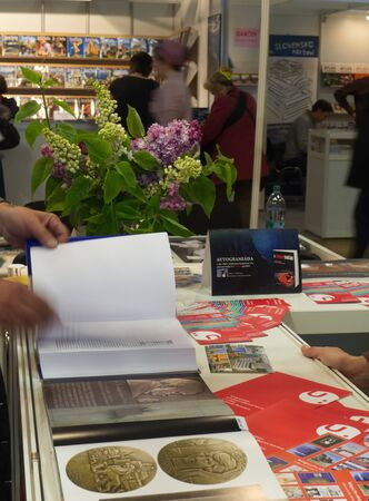 PRAGUE - MAY 11, 2017: Book World Prague 2017 - 23rd International Book Fair and Literary Festival was launched on May 11 at Prague Exhibition Grounds - Holesovice. Editorial