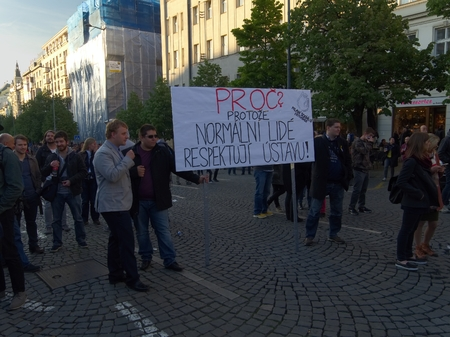 PRAGUE - MAY 10, 2017: Thousands of people gathered in Wenceslas Square in Prague for Demonstration to express dissatisfaction with a zero response to serious findings about the influence of journalists by Andrej Babiš, organized by Sarka Fialova and o