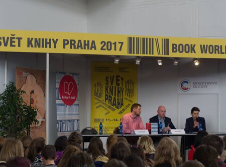PRAGUE - MAY 12, 2017: Irish writer John Boyne during a discussion with visitors of the Book World Prague 2017 - 23rd International Book Fair and Literary Festival Editorial