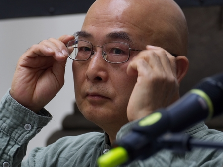 PRAGUE - MAY 13, 2017: Chinese writer and dissident Liao I Wu on Book World Prague 2017 - 23rd International Book Fair and Literary Festival Editorial