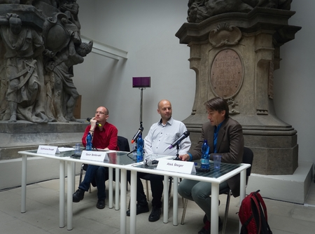 PRAGUE - MAY 14, 2017:  French writer Guillaume Basset, Macedonian writer Goce Smilevski and Slovenian writer Ales Steger (from the left) on the Book World Prague 2017 - 23rd International Book Fair and Literary Festival Editorial