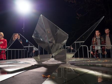 PRAGUE - OCTOBER 15, 2017: Installation Juxtaposition by Tets Ohnari on Kampa, within the Prague Light festival Signal 2017 Editorial
