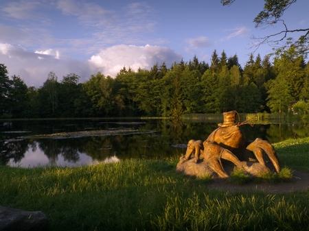 Statue of a crayfish from Michal Olsiak at the pond Jordan in Racin, Zdar nad Sazavou district. Editorial