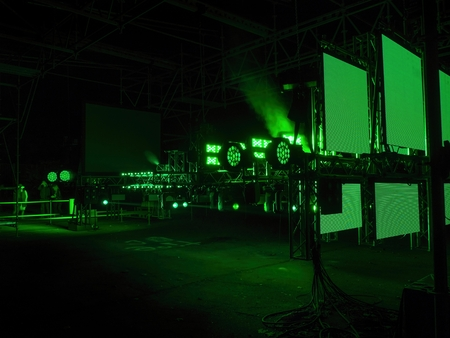PRAGUE - OCTOBER 15, 2017: Installation Man Machine by Vladimir 518, David Vrbik and Ondrej Andera from group SPAM on  TJ Sokol Vinohrady within the Prague Light festival Signal 2017 in Prague.