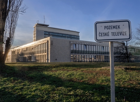 PRAGUE - JANUARY 30, 2018: Buildings of Czech television on Kavci hills in Prague in winter sunny late afternoon. Editorial
