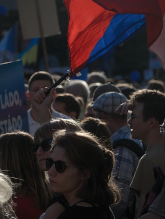 PRAGUE - JUNE 5, 2018 :  Thousands of people were protesting on Wenceslas Square in Prague against the upcoming government of Andrei Babis (ANO) with the support of the Communists.