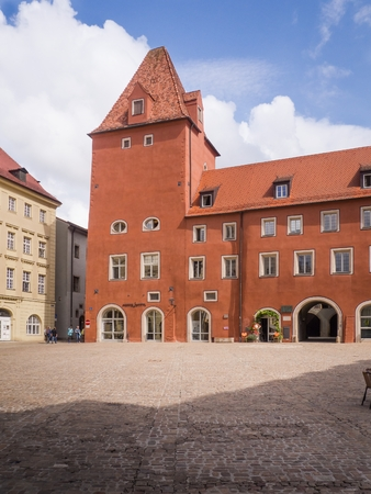 Neue Waag building on the Haidplatz in Regensburg, Germany. Editorial