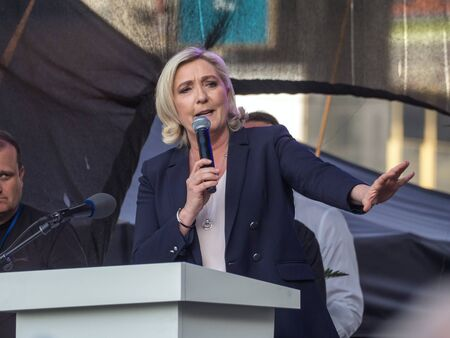 PRAGUE - APRIL 25, 2019: A meeting of representatives of European extremist parties took place in Prague on Wenceslas Square. Captured Marine Le Pen.