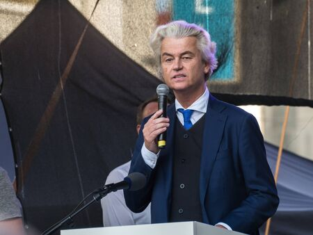 PRAGUE - APRIL 25, 2019: A meeting of representatives of European extremist parties took place in Prague on Wenceslas Square. Captured Geert Wilders.