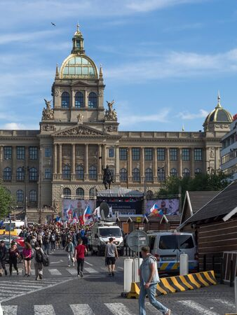 PRAGUE - APRIL 25, 2019: A meeting of representatives of European extremist parties took place in Prague on Wenceslas Square.