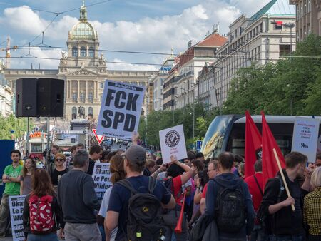 PRAGUE - APRIL 25, 2019: A meeting of representatives of European extremist parties took place in Prague on Wenceslas Square. Banco de Imagens - 128137015