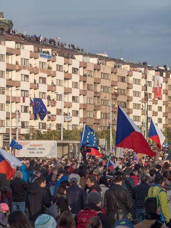 PRAGUE - NOVEMBER 16, 2019 :  Hundreds of thousands of people were protesting on Letna plain against the prime ministeer Andrei Babis.