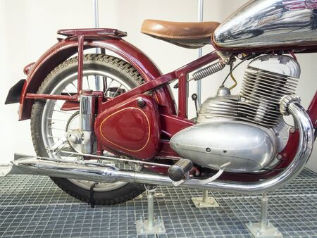 PRAGUE - NOVEMBER 27, 2019: Jawa Phenomenon - exhibition organized by the National Technical Museum to mark the 90th anniversary of the founding of the brand.