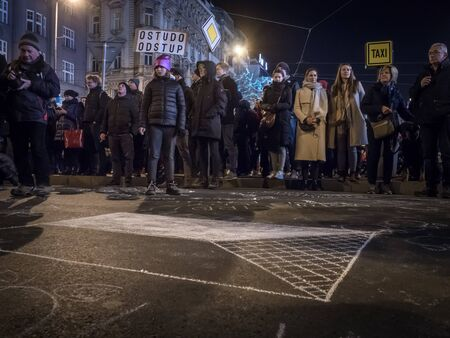 PRAGUE - DECEMBER 10, 2019 :  Ten thousands of people were protesting on Wenceslas Square in Prague against the prime minister Andrei Babis (ANO) and demanded his resignation. Editorial