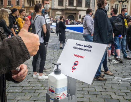 PRAGUE - JUNE 9, 2020:  Thousands of people were protesting on Old Town Square against the government of Andrei Babis.