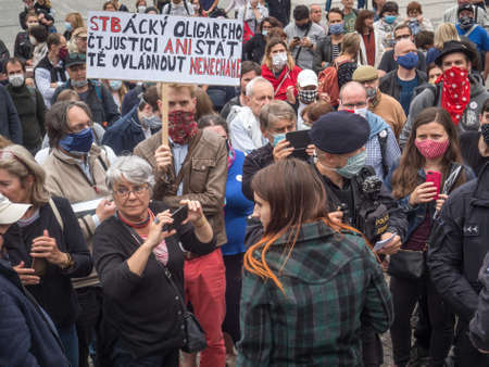 PRAGUE - JUNE 9, 2020:  Thousands of people were protesting on Palacky Square against the government of Andrei Babis. Editorial