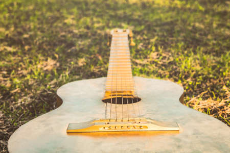 Acoustic guitar on the grass summer
