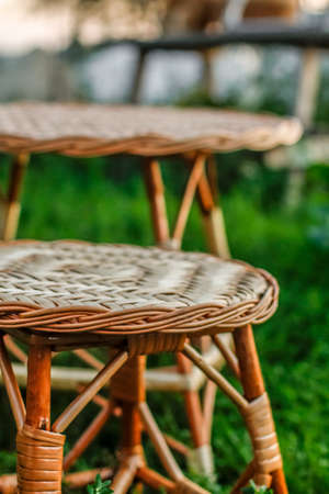 Woven handmade furniture in details. Individual production