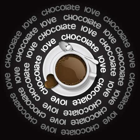 chocolat chaud: tasse de chocolat chaud avec coeur en chocolat Illustration